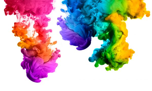 Rainbow of Acrylic Ink in Water Color Explosion
